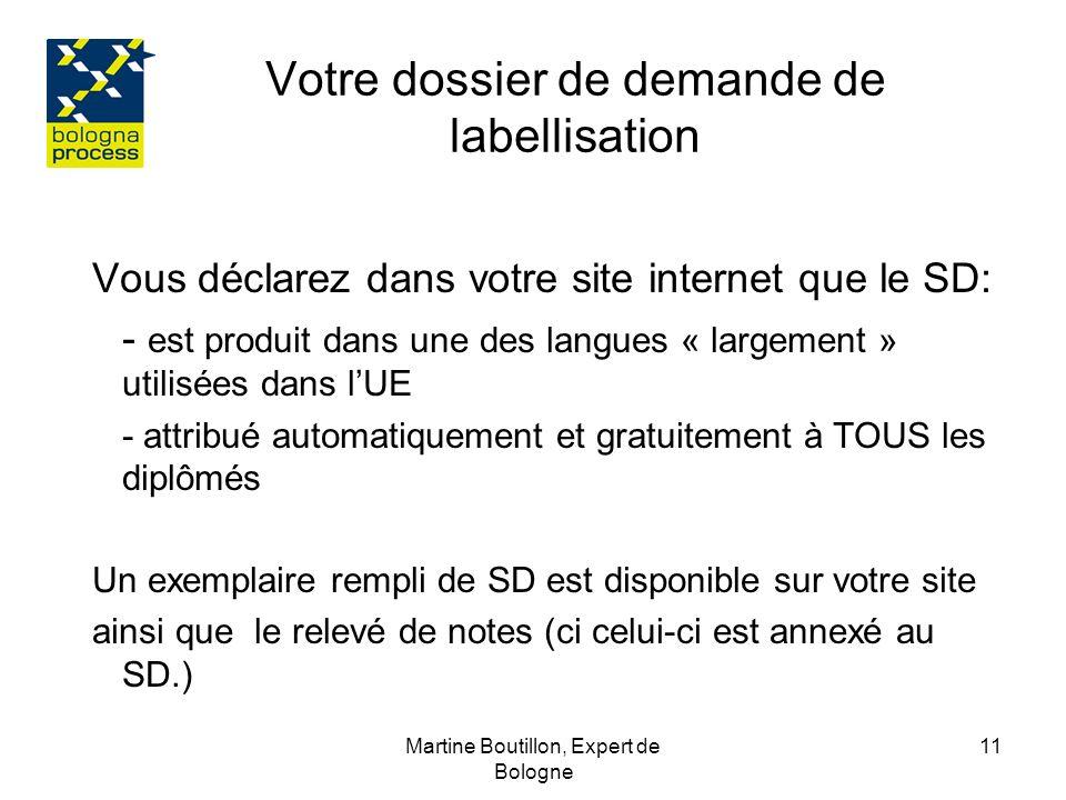 Martine Boutillon, Expert de Bologne 12 Rubriques Annexe descriptive dite Supplément au Diplôme RAPPEL - le SD doit être délivré aux diplômés français depuis 2005, de façon automatique et gratuite, - le SD fait partie du portfolio EUROPASS depuis décembre 2004.
