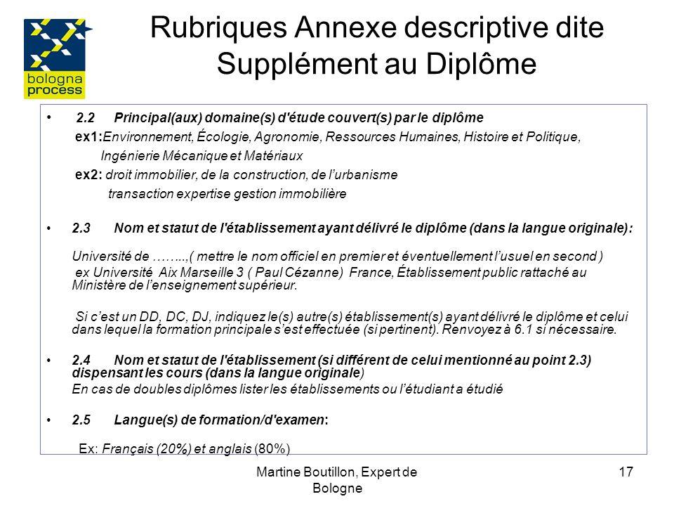 Martine Boutillon, Expert de Bologne 18 Rubriques Annexe descriptive dite Supplément au Diplôme 3.