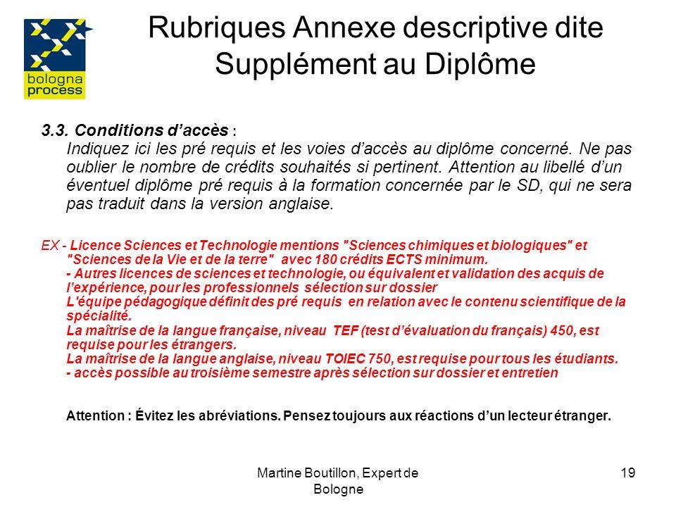 Martine Boutillon, Expert de Bologne 20 Rubriques Annexe descriptive dite Supplément au Diplôme 4.