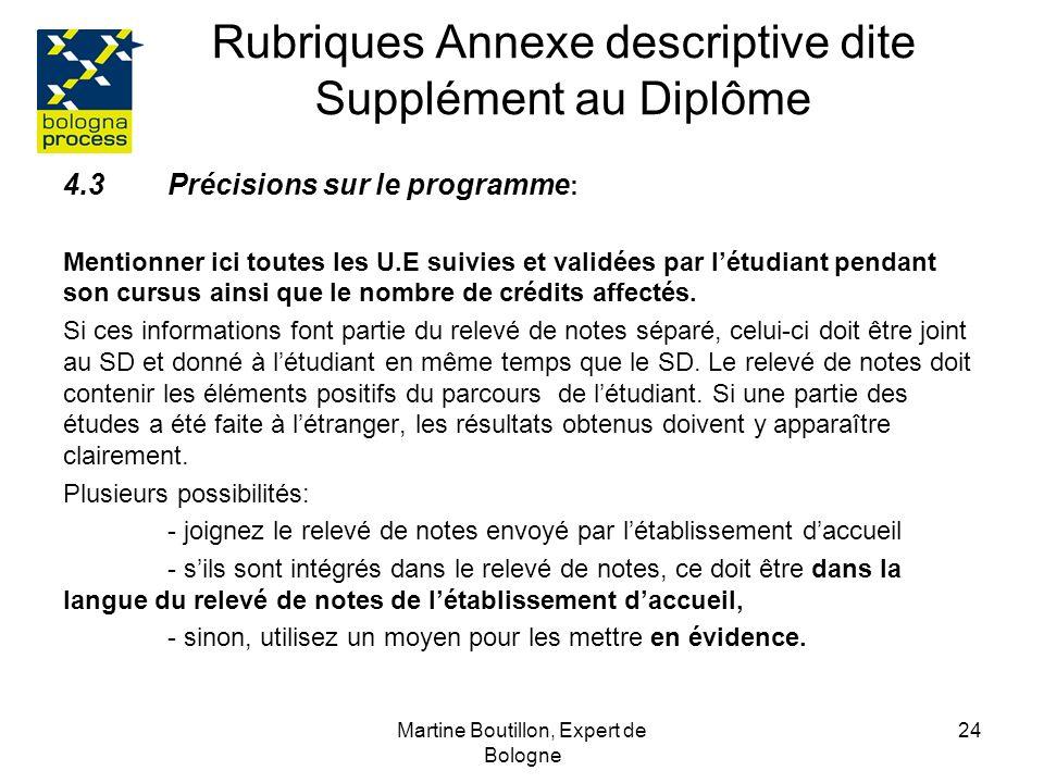 Martine Boutillon, Expert de Bologne 25 Rubriques Annexe descriptive dite Supplément au Diplôme 4.