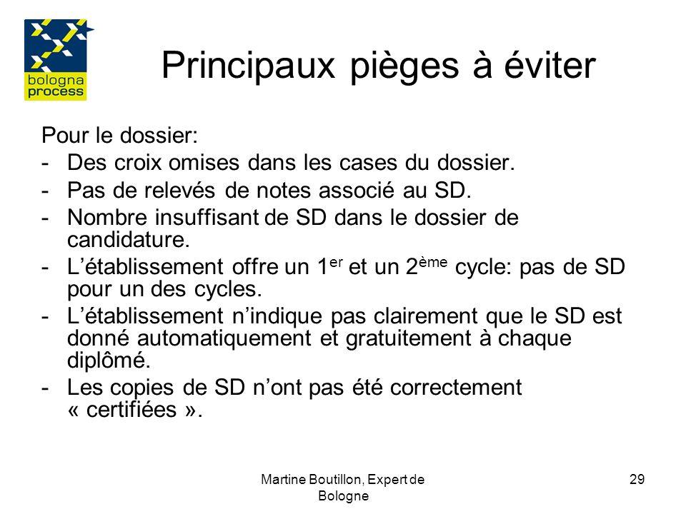 Martine Boutillon, Expert de Bologne 30 Principaux pièges à éviter Pour le SD; -le modèle officiel du SD ou modifier ou ajouter des rubriques na pas été utilisé -des informations importantes dans les rubriques ont été omises (comme des adresses de site indiquées en 4.1 ou 4.2).