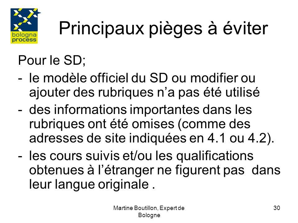 Martine Boutillon, Expert de Bologne 31 Principaux pièges à éviter Pour le site: -Létablissement nindique pas clairement que le SD est donné automatiquement et gratuitement à chaque diplômé.