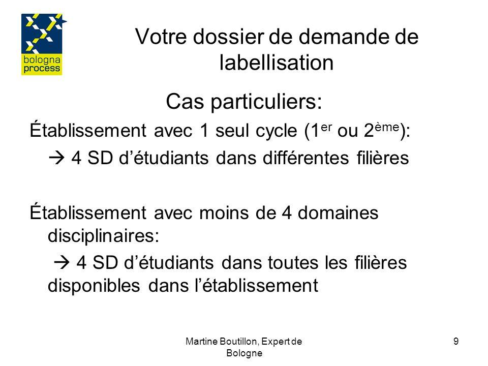 Martine Boutillon, Expert de Bologne 10 Votre dossier de demande de labellisation Confirmez que -les versions papiers suivent les modèles donnés en annexe -le SD est attribué à -TOUS les diplômés -Gratuitement -Dans une des langues « largement » parlée dans lUE - Les exemplaires de SD présents dans le dossier sont certifiées conformes à loriginal.