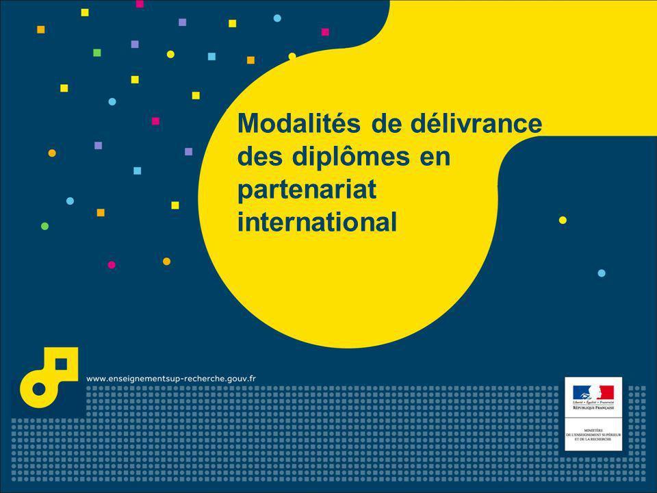 Modalités de délivrance des diplômes en partenariat international - 26 janvier 2012 2 Contexte 1