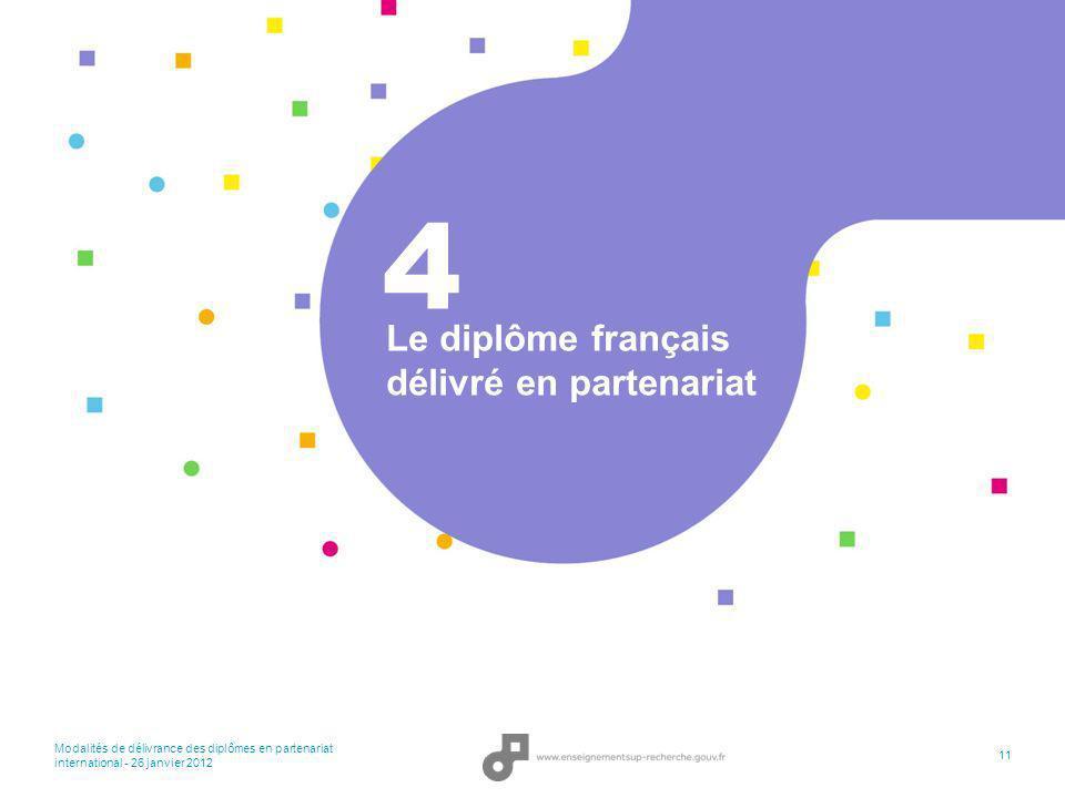 Modalités de délivrance des diplômes en partenariat international - 26 janvier 2012 11 Le diplôme français délivré en partenariat 4