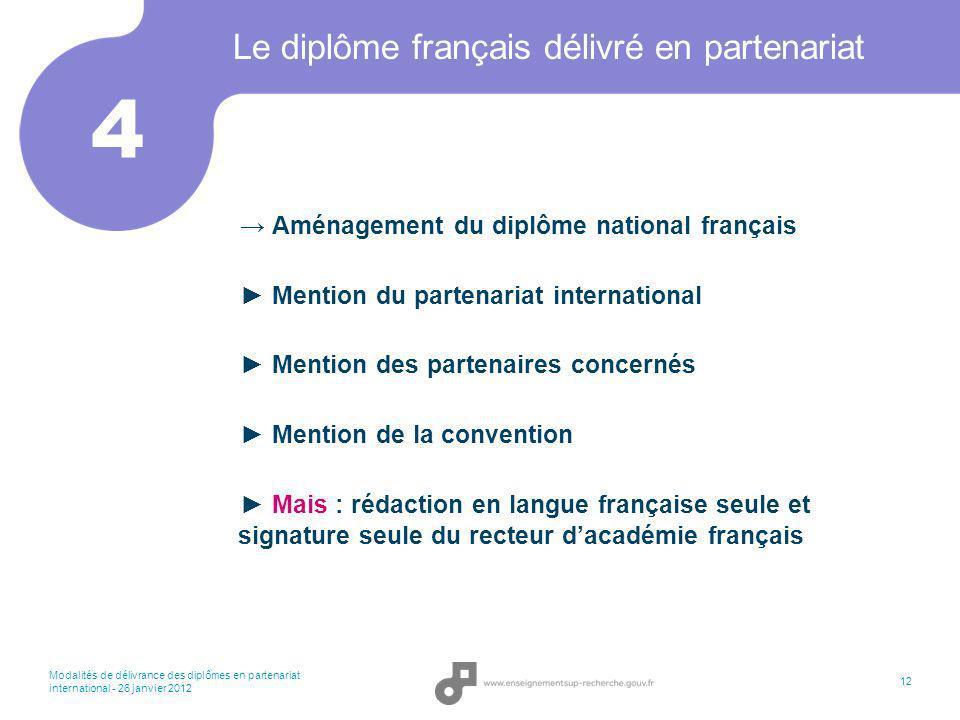 Modalités de délivrance des diplômes en partenariat international - 26 janvier 2012 12 Le diplôme français délivré en partenariat Aménagement du diplô