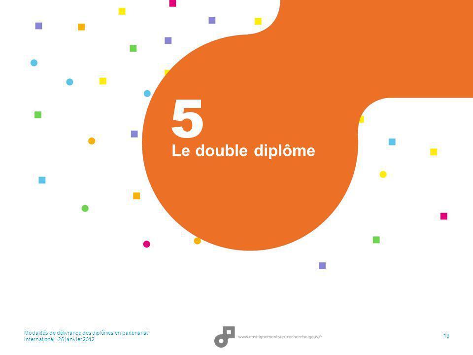 Modalités de délivrance des diplômes en partenariat international - 26 janvier 2012 13 Le double diplôme 5