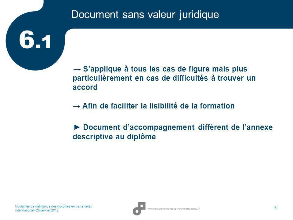 Modalités de délivrance des diplômes en partenariat international - 26 janvier 2012 15 Document sans valeur juridique Sapplique à tous les cas de figu
