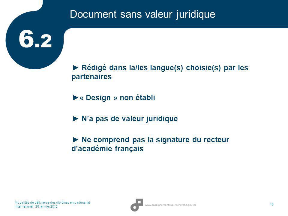 Modalités de délivrance des diplômes en partenariat international - 26 janvier 2012 16 Document sans valeur juridique Rédigé dans la/les langue(s) cho