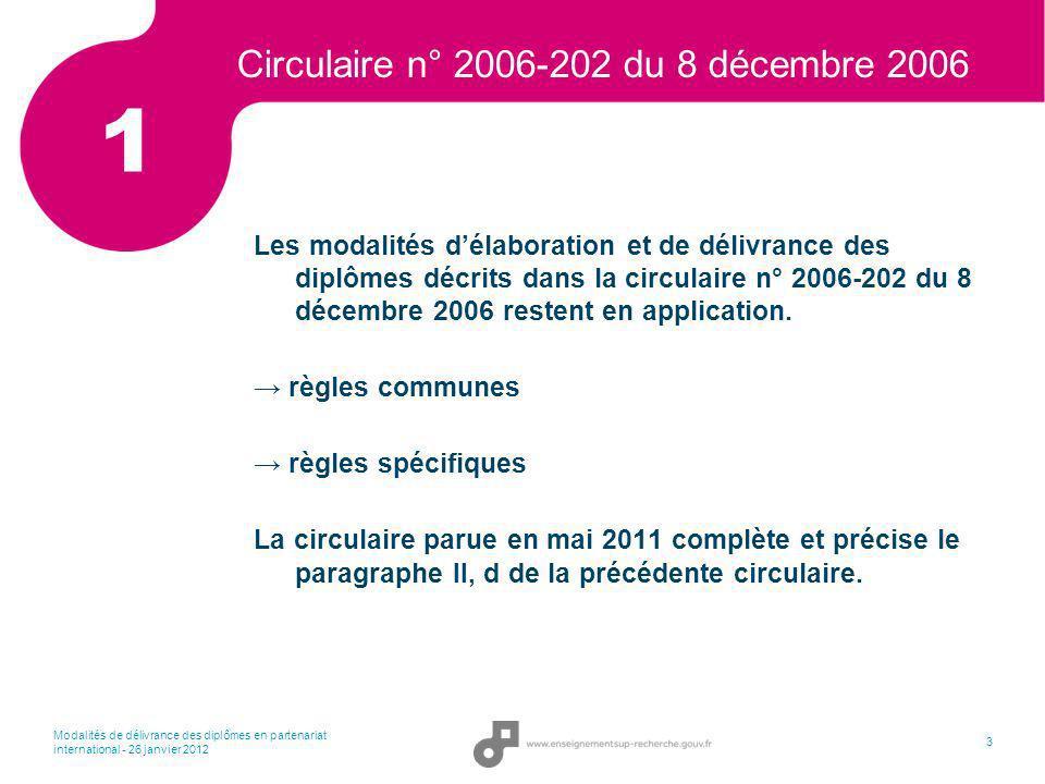 Modalités de délivrance des diplômes en partenariat international - 26 janvier 2012 4 Circulaire du 11 mai 2011 2