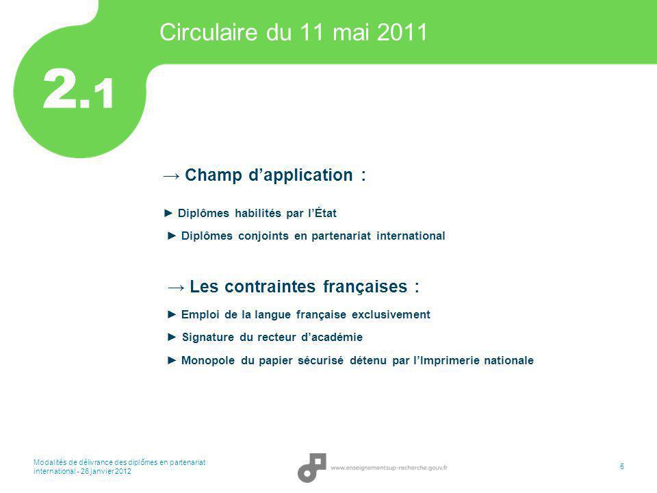 Modalités de délivrance des diplômes en partenariat international - 26 janvier 2012 5 Circulaire du 11 mai 2011 Champ dapplication : Diplômes habilité
