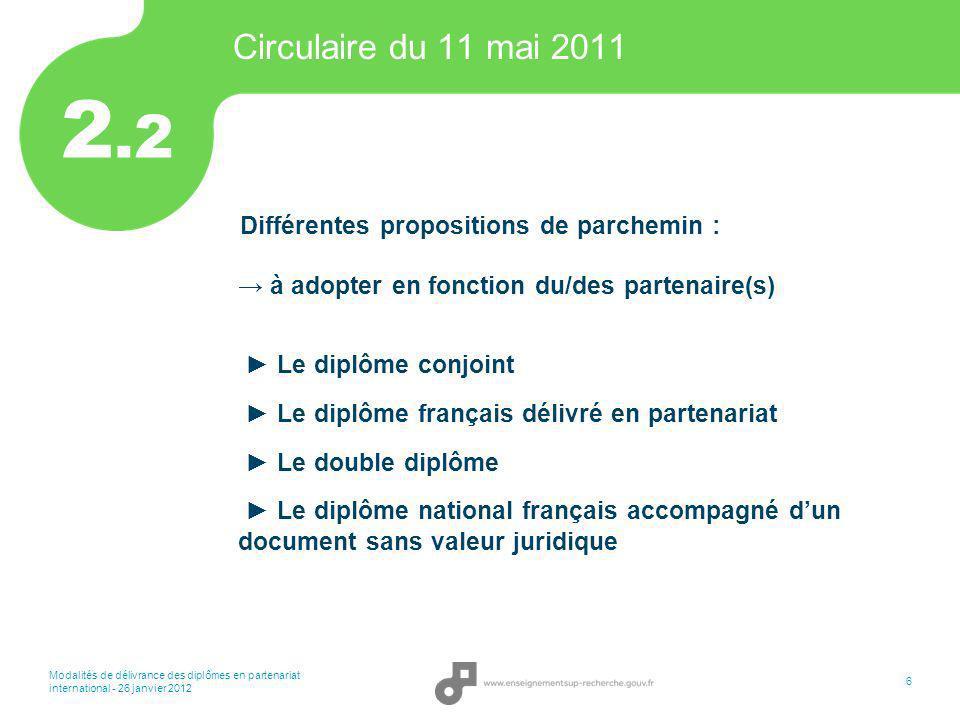 Modalités de délivrance des diplômes en partenariat international - 26 janvier 2012 6 Circulaire du 11 mai 2011 Différentes propositions de parchemin