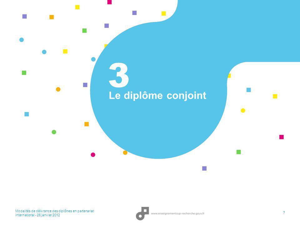 Modalités de délivrance des diplômes en partenariat international - 26 janvier 2012 18 Merci de votre attention.