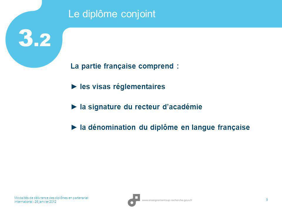 Modalités de délivrance des diplômes en partenariat international - 26 janvier 2012 9 Le diplôme conjoint La partie française comprend : les visas rég