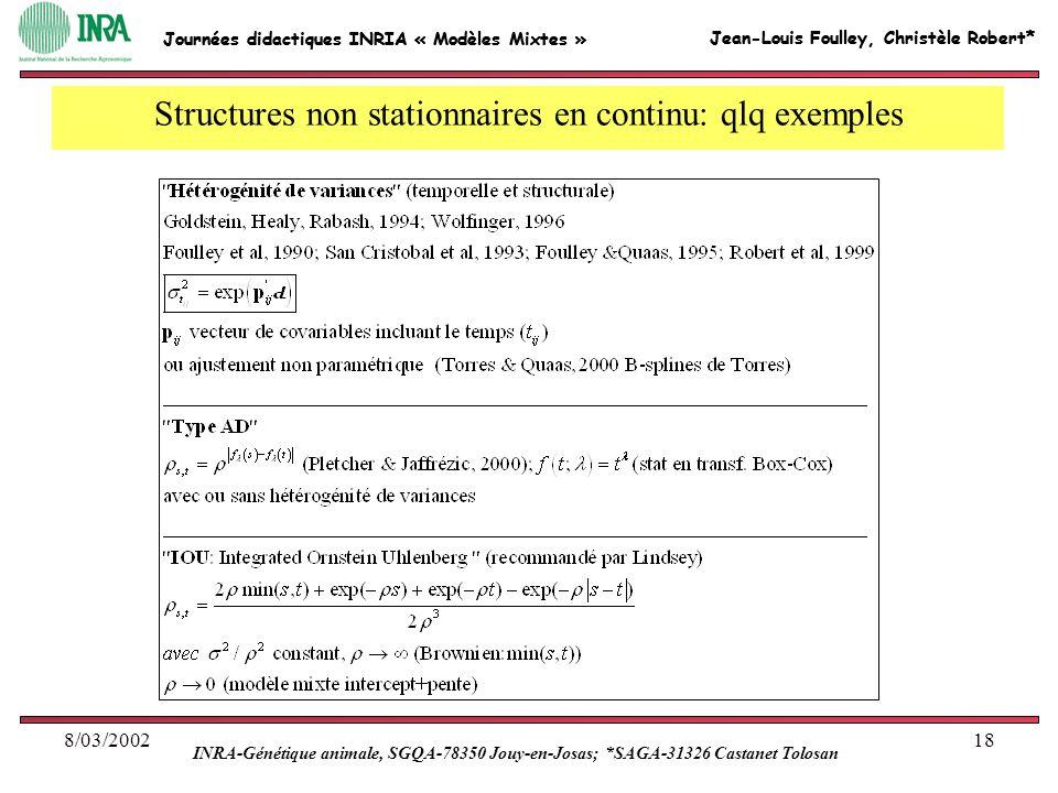 Jean-Louis Foulley, Christèle Robert* INRA-Génétique animale, SGQA-78350 Jouy-en-Josas; *SAGA-31326 Castanet Tolosan Journées didactiques INRIA « Modè
