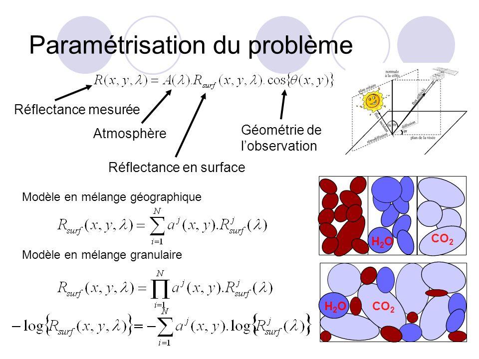 Réflectance en surface Paramétrisation du problème Réflectance mesurée Atmosphère Géométrie de lobservation CO 2 H2OH2O Modèle en mélange géographique