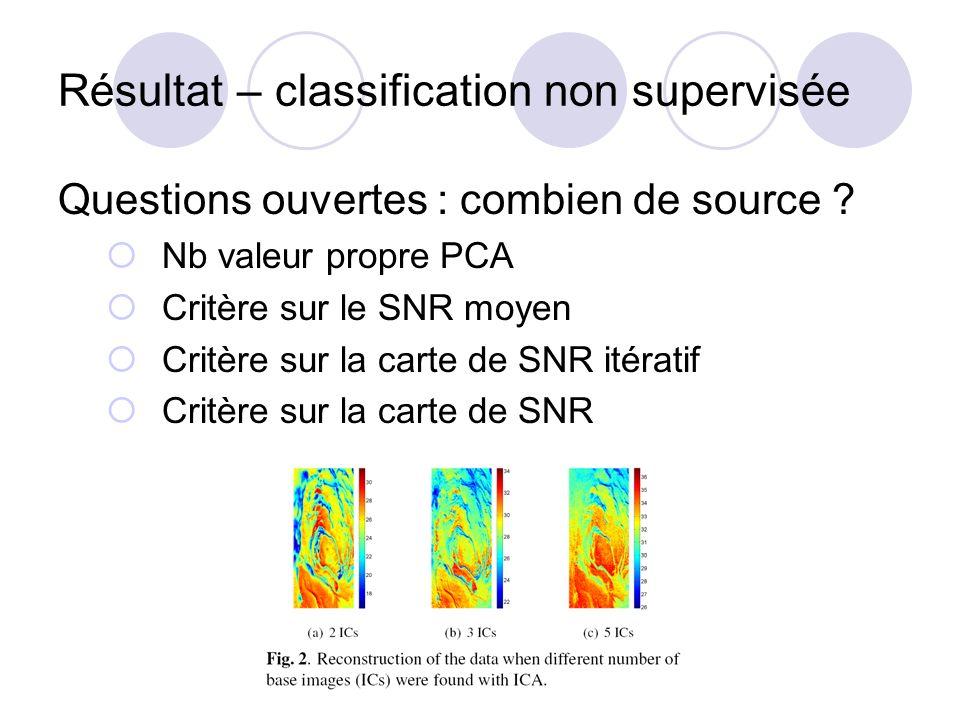 Résultat – classification non supervisée Questions ouvertes : combien de source ? Nb valeur propre PCA Critère sur le SNR moyen Critère sur la carte d