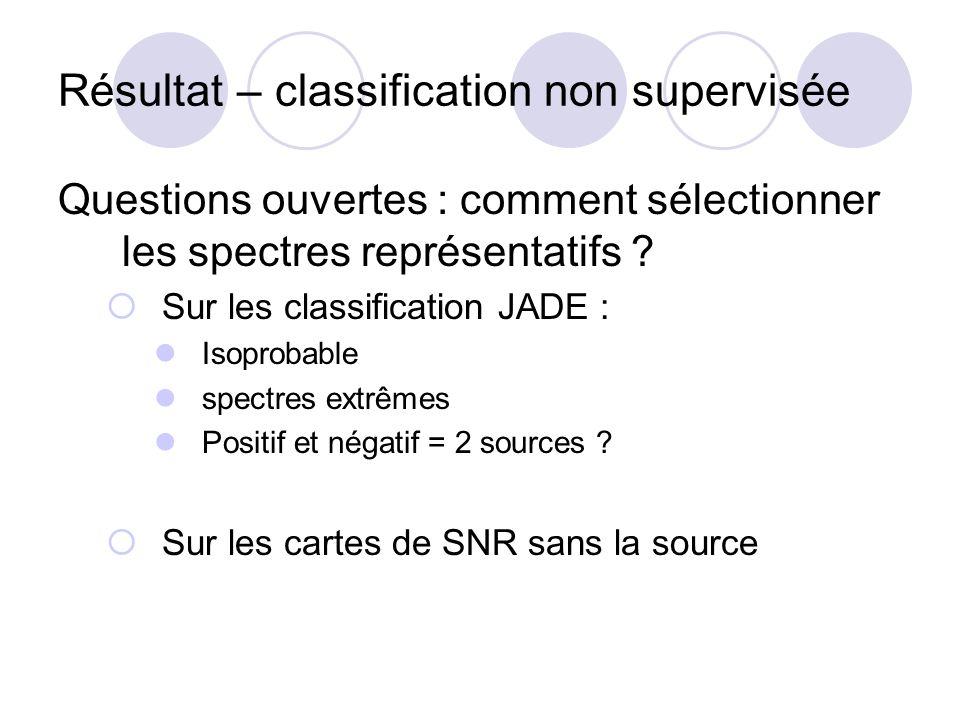 Résultat – classification non supervisée Questions ouvertes : comment sélectionner les spectres représentatifs ? Sur les classification JADE : Isoprob