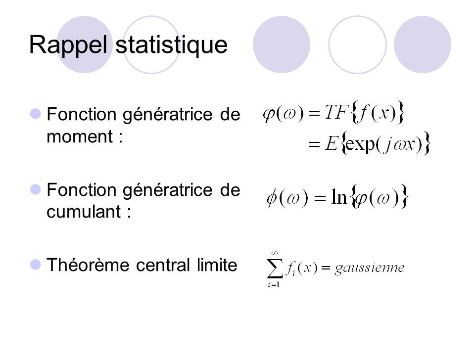 Rappel statistique Fonction génératrice de moment : Fonction génératrice de cumulant : Théorème central limite