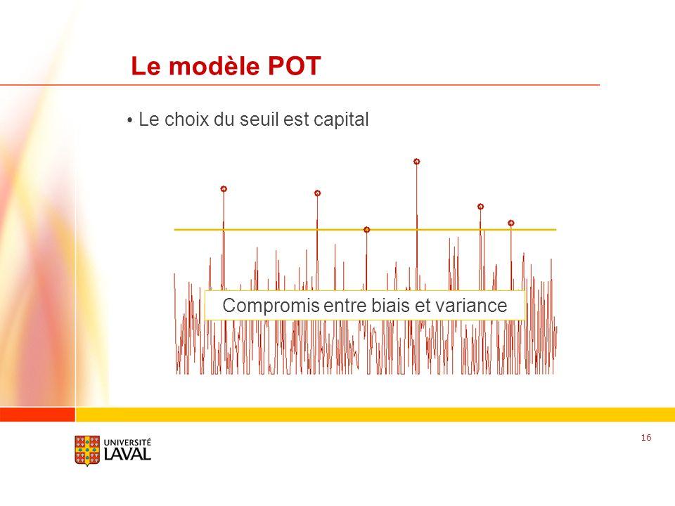 www.fsg.ulaval.ca Le modèle POT 16 Le choix du seuil est capital Compromis entre biais et variance