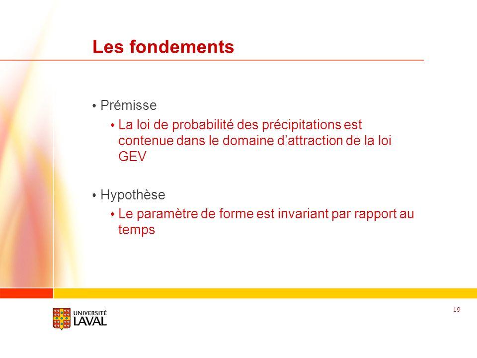 www.fsg.ulaval.ca Les fondements Prémisse La loi de probabilité des précipitations est contenue dans le domaine dattraction de la loi GEV Hypothèse Le