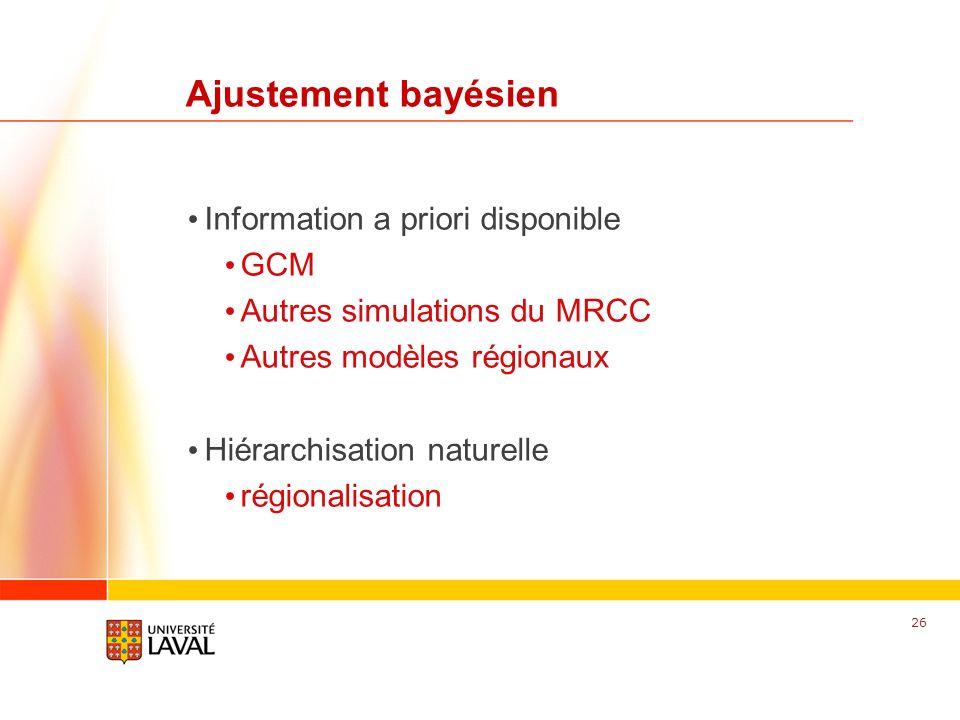 www.fsg.ulaval.ca Ajustement bayésien Information a priori disponible GCM Autres simulations du MRCC Autres modèles régionaux Hiérarchisation naturell