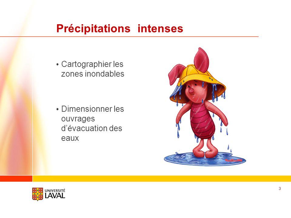 www.fsg.ulaval.ca Précipitations intenses Cartographier les zones inondables Dimensionner les ouvrages dévacuation des eaux 3