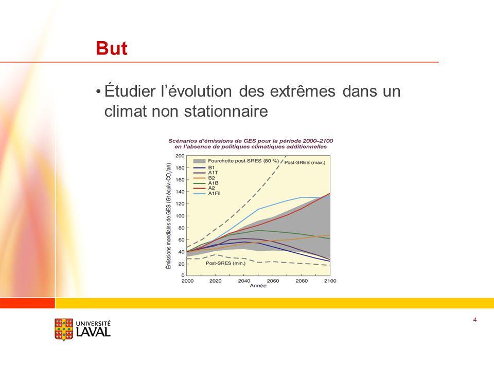 www.fsg.ulaval.ca But Étudier lévolution des extrêmes dans un climat non stationnaire 4