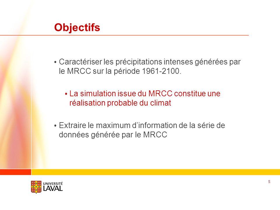 www.fsg.ulaval.ca Objectifs Caractériser les précipitations intenses générées par le MRCC sur la période 1961-2100. La simulation issue du MRCC consti