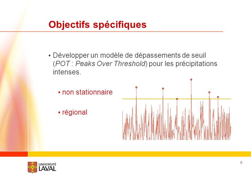 www.fsg.ulaval.ca Objectifs spécifiques Développer un modèle de dépassements de seuil (POT : Peaks Over Threshold) pour les précipitations intenses. n