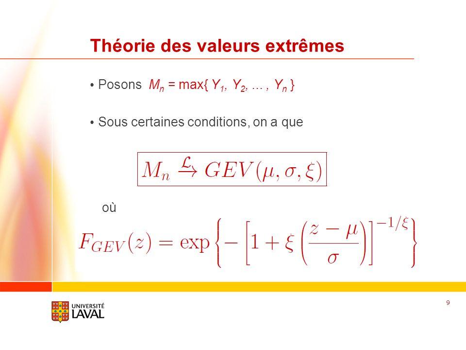 www.fsg.ulaval.ca Théorie des valeurs extrêmes Posons M n = max{ Y 1, Y 2,..., Y n } Sous certaines conditions, on a que 9 où