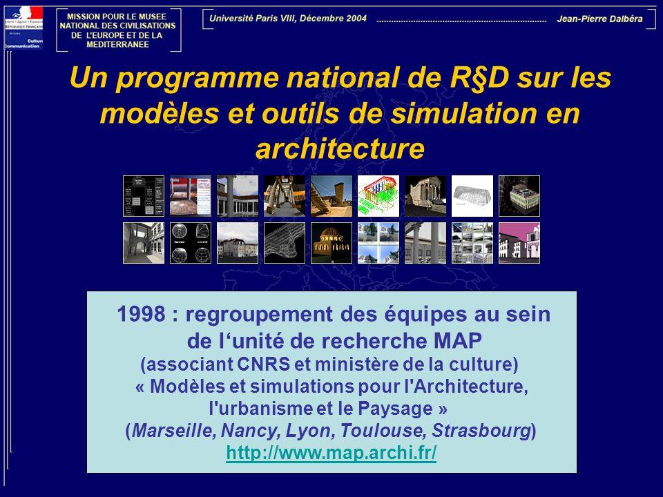 Un programme national de R§D sur les modèles et outils de simulation en architecture 1998 : regroupement des équipes au sein de lunité de recherche MA
