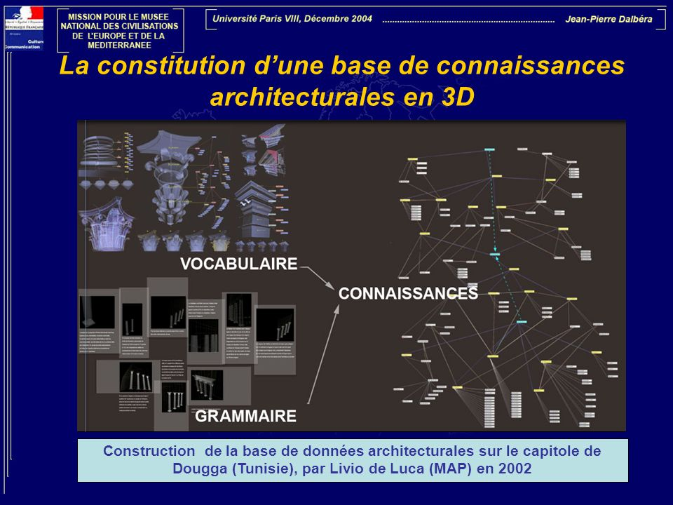 La constitution dune base de connaissances architecturales en 3D Construction de la base de données architecturales sur le capitole de Dougga (Tunisie