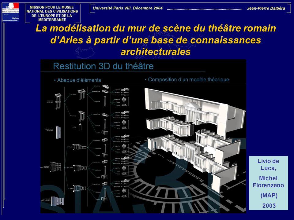 La modélisation du mur de scène du théâtre romain dArles à partir dune base de connaissances architecturales Livio de Luca, Michel Florenzano (MAP) 20