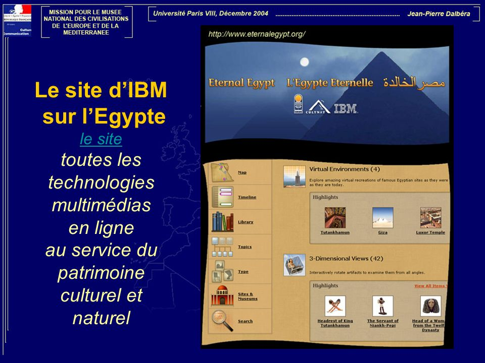 Le site dIBM sur lEgypte le site toutes les technologies multimédias en ligne au service du patrimoine culturel et naturel le site