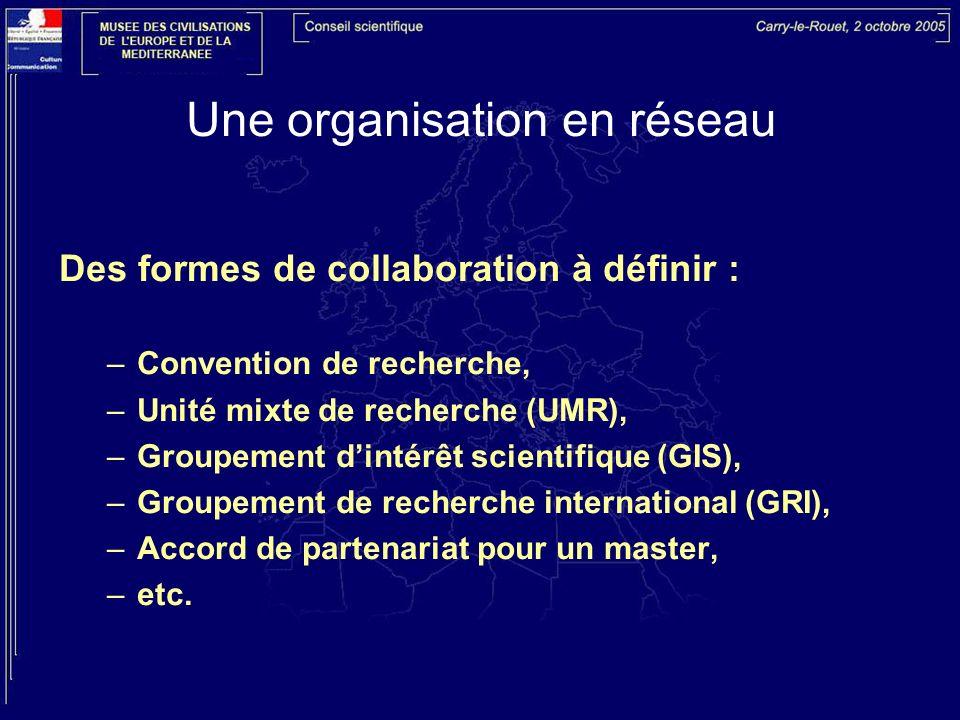 Une organisation en réseau Des formes de collaboration à définir : –Convention de recherche, –Unité mixte de recherche (UMR), –Groupement dintérêt scientifique (GIS), –Groupement de recherche international (GRI), –Accord de partenariat pour un master, –etc.