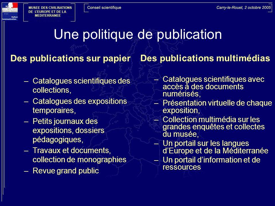 Une politique de publication Des publications sur papier –Catalogues scientifiques des collections, –Catalogues des expositions temporaires, –Petits j