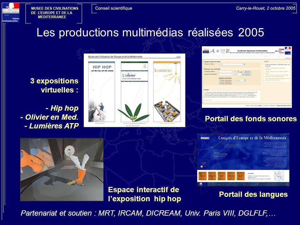 Les productions multimédias réalisées 2005 Portail des fonds sonores Portail des langues 3 expositions virtuelles : - Hip hop - Olivier en Med. - Lumi