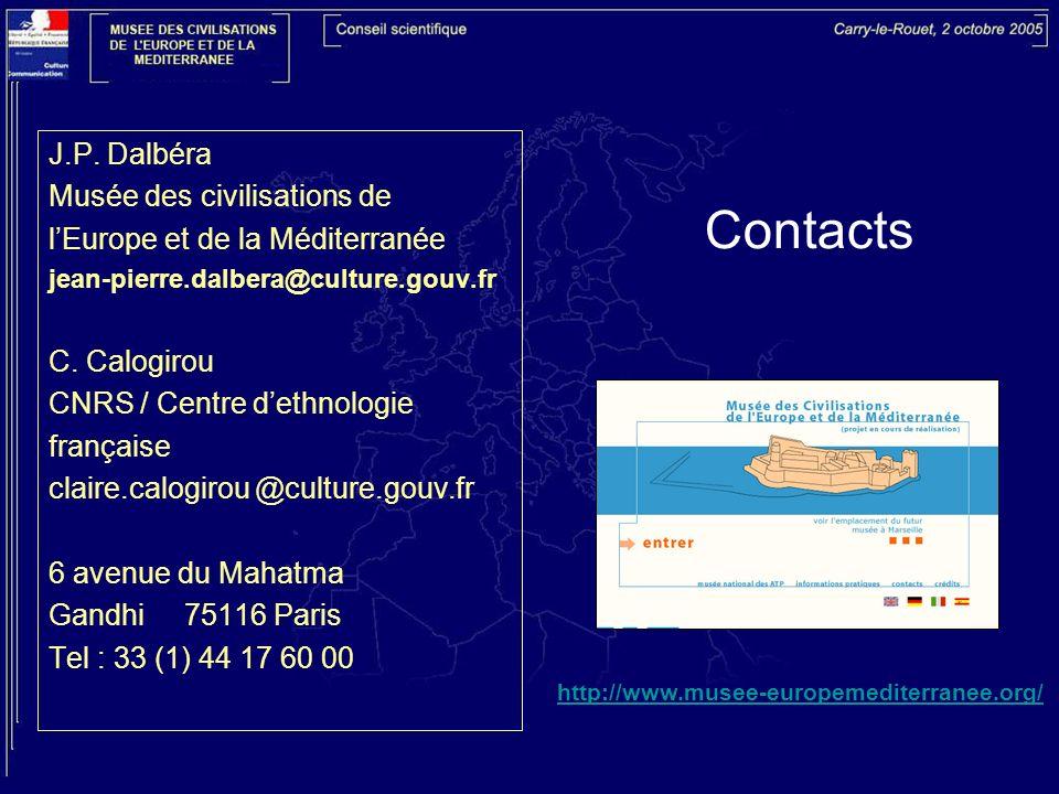 Contacts J.P. Dalbéra Musée des civilisations de lEurope et de la Méditerranée jean-pierre.dalbera@culture.gouv.fr C. Calogirou CNRS / Centre dethnolo