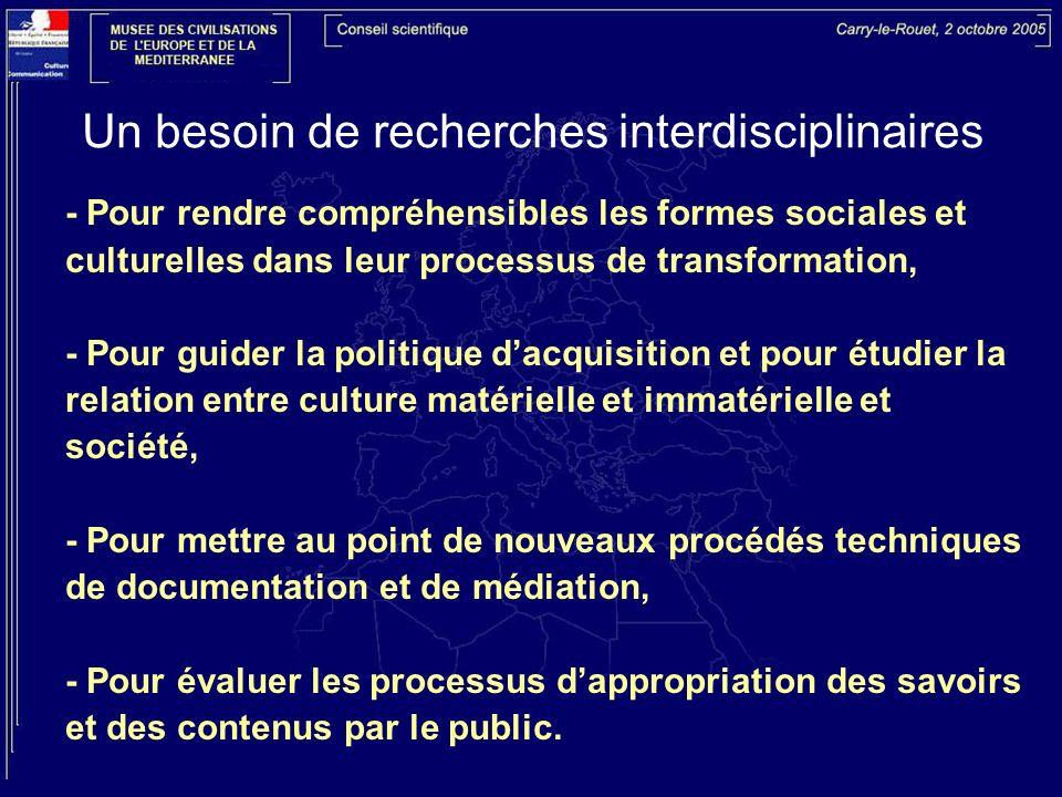 Un besoin de recherches interdisciplinaires - Pour rendre compréhensibles les formes sociales et culturelles dans leur processus de transformation, -