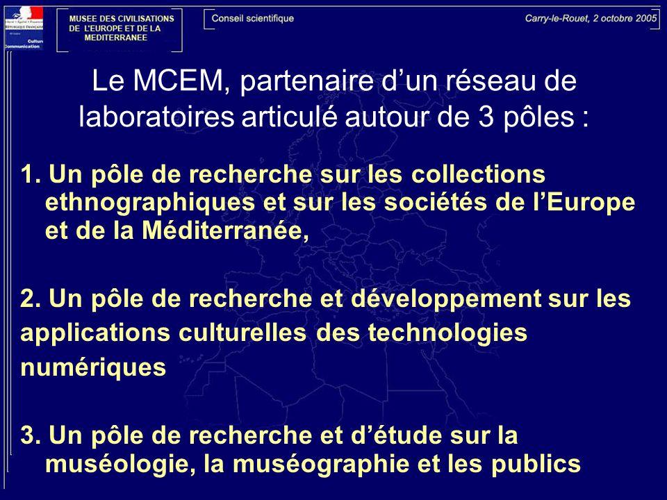 Le MCEM, partenaire dun réseau de laboratoires articulé autour de 3 pôles : 1. Un pôle de recherche sur les collections ethnographiques et sur les soc