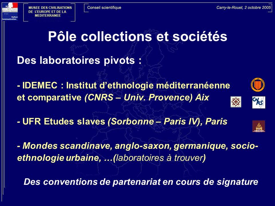 Pôle collections et sociétés Des laboratoires pivots : - IDEMEC : Institut dethnologie méditerranéenne et comparative (CNRS – Univ. Provence) Aix - UF