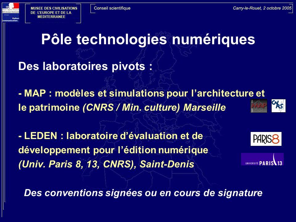 Pôle technologies numériques Des laboratoires pivots : - MAP : modèles et simulations pour larchitecture et le patrimoine (CNRS / Min. culture) Marsei