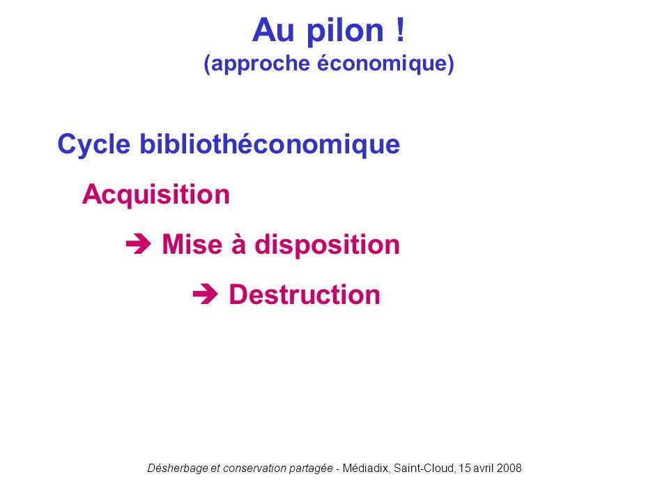 Désherbage et conservation partagée - Médiadix, Saint-Cloud, 15 avril 2008 Cycle bibliothéconomique Acquisition Mise à disposition Destruction Au pilo