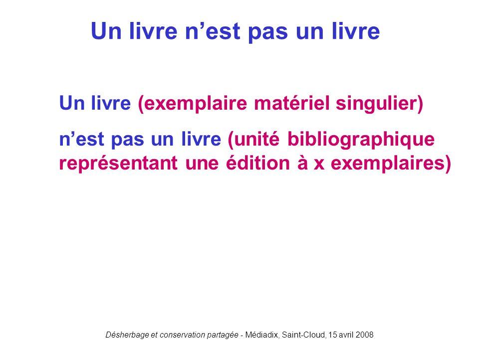 Désherbage et conservation partagée - Médiadix, Saint-Cloud, 15 avril 2008 Un livre (exemplaire matériel singulier) nest pas un livre (unité bibliogra