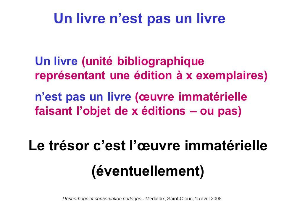 Désherbage et conservation partagée - Médiadix, Saint-Cloud, 15 avril 2008 Un livre (unité bibliographique représentant une édition à x exemplaires) n