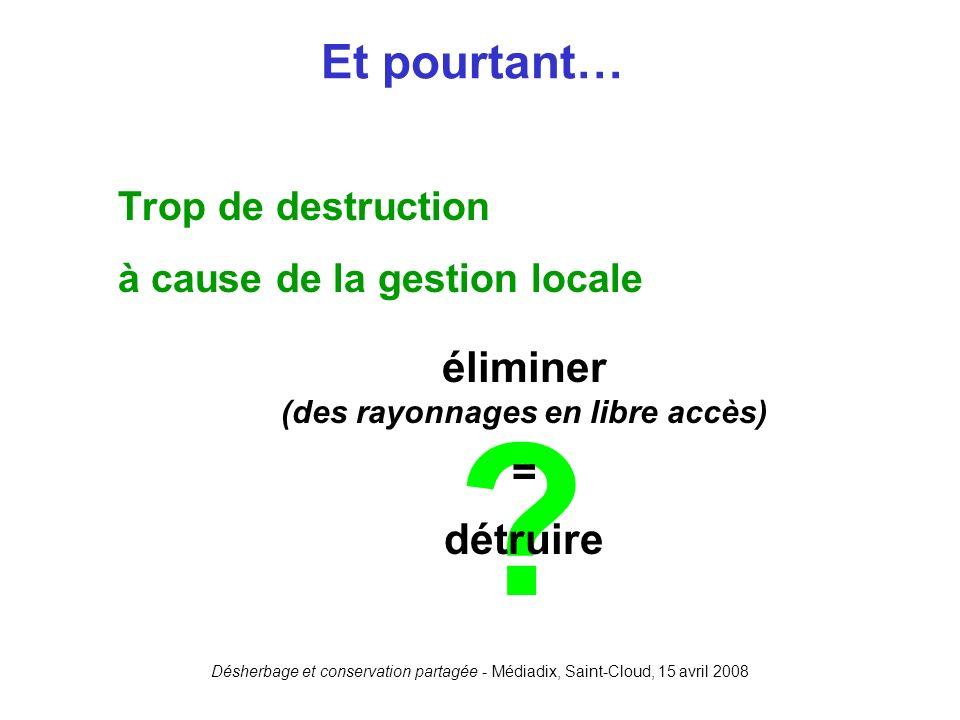 Désherbage et conservation partagée - Médiadix, Saint-Cloud, 15 avril 2008 ? Trop de destruction à cause de la gestion locale Et pourtant… éliminer (d