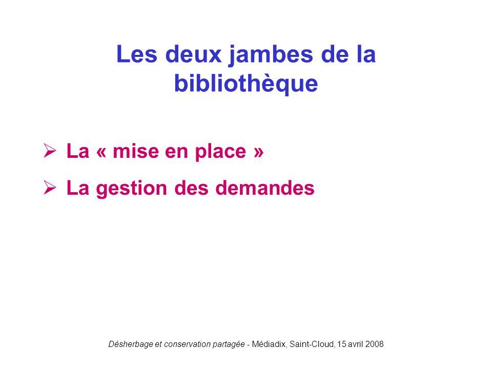 Désherbage et conservation partagée - Médiadix, Saint-Cloud, 15 avril 2008 La « mise en place » La gestion des demandes Les deux jambes de la biblioth