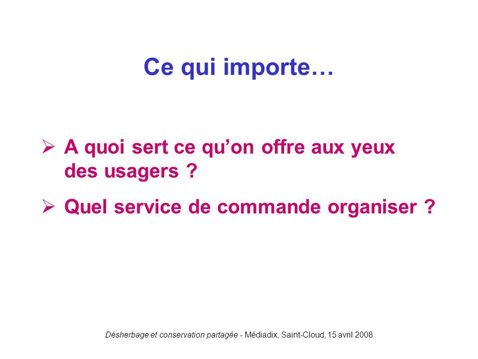 Désherbage et conservation partagée - Médiadix, Saint-Cloud, 15 avril 2008 A quoi sert ce quon offre aux yeux des usagers ? Quel service de commande o