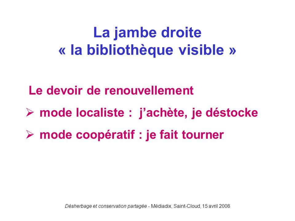 Désherbage et conservation partagée - Médiadix, Saint-Cloud, 15 avril 2008 Le devoir de renouvellement mode localiste : jachète, je déstocke mode coop